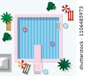 vector swimming pool top view | Shutterstock .eps vector #1106485973