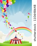 circus  rainbow and balloons... | Shutterstock .eps vector #110648648