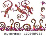 hand drawn lizard elements with ... | Shutterstock .eps vector #1106489186