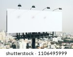 blank white billboard on bright ... | Shutterstock . vector #1106495999