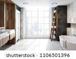 white tiles bathroom interior... | Shutterstock . vector #1106501396