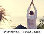 senior adult practicing yoga   Shutterstock . vector #1106505386