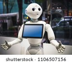 Small photo of TOKYO, JAPAN - APR 16, 2018 : Pepper Robot Assistant Humanoid display Information on Tablet screen Japan Technology service