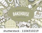 bakery top view frame. hand... | Shutterstock .eps vector #1106510219