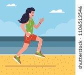 smiling fitness girl running on ...   Shutterstock .eps vector #1106513546