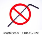 black plastic straw set up in a ... | Shutterstock . vector #1106517320