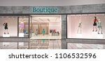 boutique facade with clothes in ... | Shutterstock . vector #1106532596