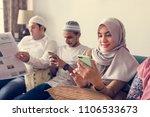 muslim friends using social... | Shutterstock . vector #1106533673