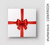 gift box with red bow and satin ... | Shutterstock .eps vector #1106550224