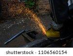 metal work. man grinds a steel... | Shutterstock . vector #1106560154