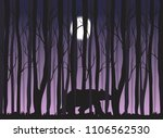 bear silhouette in the woods... | Shutterstock .eps vector #1106562530