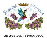hummingbirds butterflies crown... | Shutterstock .eps vector #1106570300