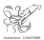 giant squid drawn in engraving... | Shutterstock .eps vector #1106572889