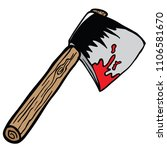 bloody axe cartoon illustration ... | Shutterstock .eps vector #1106581670