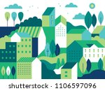 Stock vector vector illustration in simple minimal geometric flat style city landscape with buildings hills 1106597096