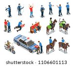 police isometric icons set with ... | Shutterstock .eps vector #1106601113