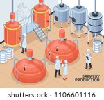 brewery beer production process ... | Shutterstock .eps vector #1106601116