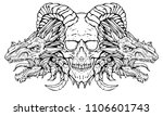 demon skull with dragons on the ... | Shutterstock . vector #1106601743