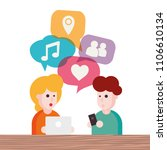 two people avatars chatting.... | Shutterstock .eps vector #1106610134