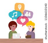two people avatars chatting.... | Shutterstock .eps vector #1106610140
