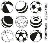 black and white rubber ball... | Shutterstock .eps vector #1106615183