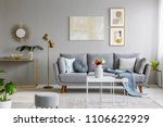 real photo of a grey sofa with... | Shutterstock . vector #1106622929