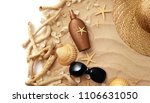 suntan cream bottle on sand... | Shutterstock . vector #1106631050