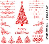 christmas decoration set   lots ... | Shutterstock .eps vector #110665124