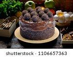 chocolate cake with bonbon | Shutterstock . vector #1106657363