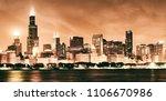 chicago skyline by night ... | Shutterstock . vector #1106670986