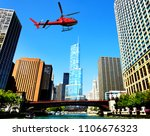 helicopter flying over chicago  ... | Shutterstock . vector #1106676323