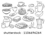 vector hand drawn set breakfast ... | Shutterstock .eps vector #1106696264