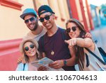 group of friends on vacation... | Shutterstock . vector #1106704613