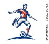 soccer player kicking ball.... | Shutterstock .eps vector #1106710766