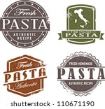 fresh italian pasta stamp | Shutterstock .eps vector #110671190