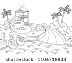 aqua park graphic black white... | Shutterstock .eps vector #1106718833
