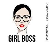 girl boss. fashion girl with... | Shutterstock .eps vector #1106723390
