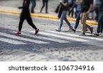 people on zebra crossing of...   Shutterstock . vector #1106734916