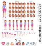 flat fitness woman character... | Shutterstock .eps vector #1106737139