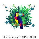 jungle  flat style  toucan ... | Shutterstock .eps vector #1106744000