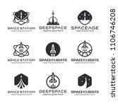 rocket logo  space emblems ... | Shutterstock .eps vector #1106746208