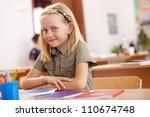little girl sitting and... | Shutterstock . vector #110674748