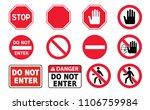 stop sign set do not enter...   Shutterstock .eps vector #1106759984