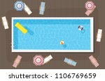 rectangular pool with... | Shutterstock .eps vector #1106769659