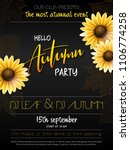 vector autumn party poster with ... | Shutterstock .eps vector #1106774258