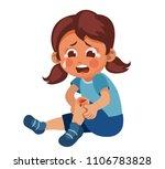 the girl fell and hurt her knee.... | Shutterstock .eps vector #1106783828