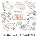 grill time. hand drawn bbq meat ...   Shutterstock .eps vector #1106788964