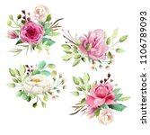 beautiful watercolor floral... | Shutterstock . vector #1106789093