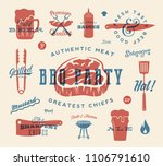 barbecue party vector retro... | Shutterstock .eps vector #1106791610