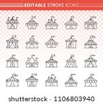 circus tent thin line icons set.... | Shutterstock .eps vector #1106803940